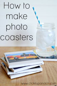 These are made using resin instead of Mod Podge. How to Make Photo Coasters - Click It Up a Notch How To Make Photo, How To Make Diy, Crafts To Make, Fun Crafts, Diy Photo, Photo Craft, Diy Projects To Try, Craft Projects, Photo Projects
