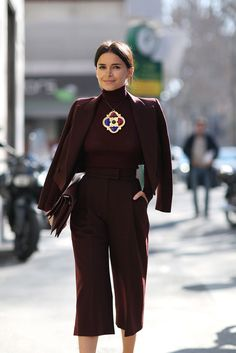 The European Guide To Flawless Style #refinery29  http://www.refinery29.com/milan-fashion-week#slide-34  Miroslava Duma amps up the drama in a full-on monochromatic look....