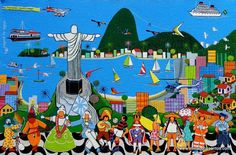 Rio, cidade maravilhosa. Óleo sobre tela. Antônio Militão dos Santos (Caruaru, PE, Brasil, 15/06/1956 - ).