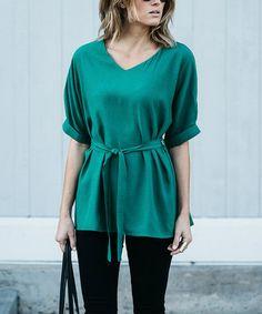 Loving this Green Tie-Waist Linen-Blend V-Neck Top on #zulily! #zulilyfinds