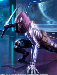 #actionpose #baddass #cyborg #girl #katana #mechsuit #ninjagirl #power #purpleninja #robosuit #robot #scifi #space #sword #attack #spaceninja #power #vidoegameart #applibot #galaxysaga #sexy