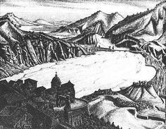 "Skot Foreman Gallery  M.C.  Escher ""Fiumara (of Stilo), Calabria"" 1930 Lithograph (Hand-Signed)    8 7/8 x 11 3/4 in  23 x 30 cm Bool 138 © The M.C. Escher Company B.V."
