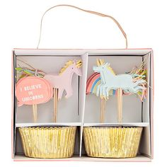 Shop Meri Meri Unicorn Cupcake Kit, Set of Unicorn Cupcake Kit. Designed by Meri Meri, this set includes cupcake cases with colorful unicorn and rainbow toppers. Don't forget to mix and match with pieces from our other party kits. Unicorn Party Bags, Unicorn Party Supplies, Unicorn Birthday Parties, First Birthday Parties, First Birthdays, Birthday Ideas, 4th Birthday, Cupcake Supplies, Birthday Supplies