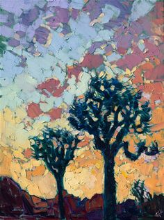 A petite oil painting 12x16 of Joshua Tree National Park, by contemporary impressionist Erin Hanson.