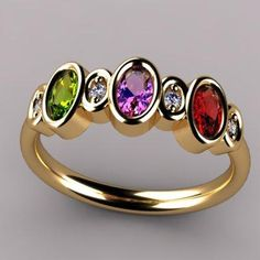 Bezeled 3 Stone Oval Mothers Ring With Diamond (emerald alexandrite opal) Love it!!