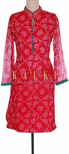 Red bandhani kurti with embroidered collar only on Kalki Bandhani Dress, Sari Dress, Indian Designer Wear, Punjabi Suits, Saris, Fabric Painting, Indian Wear, Indian Outfits, Fashion Prints