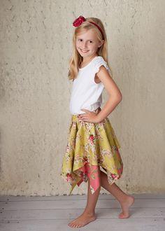 Pixie Skirt Pattern  Handkerchief Hem Layered Skirt by tiedyediva, $6.95