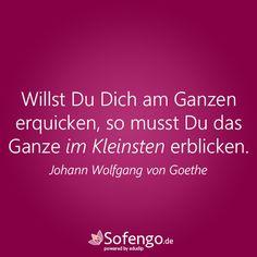 Willst Du Dich am Ganzen erquicken, so musst Du das Ganze im Kleinsten erblicken. #Goethe #Zitat