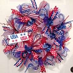 Summer Deco Mesh Wreath, Patriotic Wreath, Fourth of July Wreath, Red White and Blue Wreath, Patriotic Deco Mesh Wreath by LadySlipperWreaths on Etsy