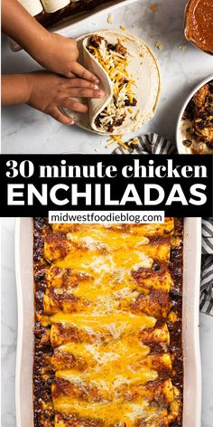 Recipes With Enchilada Sauce, Homemade Enchilada Sauce, Homemade Enchiladas, Mexican Food Recipes, Dinner Recipes, Mexican Meals, Mexican Shredded Chicken, Cheesy Chicken Enchiladas, Leftover Rotisserie Chicken