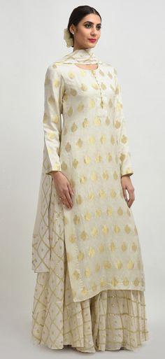 Ivory Banarasi Handwoven Zari And Sequin Embroidered Sharara Suit Pakistani Dresses, Indian Dresses, Indian Outfits, Pakistani Sharara, India Fashion, Ethnic Fashion, Ethnic Chic, Sharara Suit, Salwar Kameez
