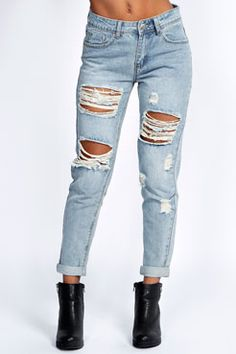 dcf97ed1d Gemma All Over Ripped 7 8th Jeans at boohoo.com Mom Jeans
