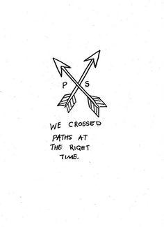 we crossed paths Small Friendship Tattoos, Small Best Friend Tattoos, Friend Tattoos Small, Small Tattoos, Flower Tattoos, Couple Tattoos Unique Meaningful, Cute Couple Tattoos, Unique Tattoos, Bestie Tattoo