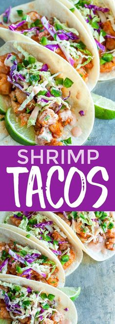 These Shrimp Tacos are fast, flavorful, and topped with a zesty Cilantro Lime Slaw that will rock yours socks! These spicy sriracha shrimp tacos are the best! dinner for weight loss Spicy Sriracha Shrimp Tacos with Cilantro Lime Slaw - Peas And Crayons Spicy Shrimp Tacos, Shrimp Taco Recipes, Fish Recipes, Mexican Food Recipes, Dessert Recipes, Clean Eating Snacks, Healthy Eating, Healthy Food, Healthy Dinner Recipes