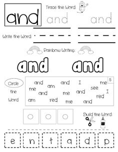 Fun and engaging sight word practice pages to help your students practice reading, writing and spelling their sight words. Set Includes over 300 sight words! Full year center activity, word work or homework. Sight Words Practice Pages Preschool Sight Words, Teaching Sight Words, Sight Words List, Dolch Sight Words, Sight Word Practice, Teaching Letters, Numbers Kindergarten, Kindergarten Writing, Kindergarten Classroom