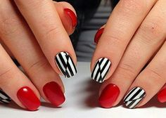 red and black and white nails. striped manicure.