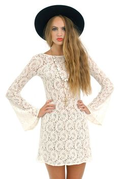 White lace mini dress with bell sleeves. The only thing I want to wear all summer