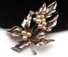 Vintage Crown Trifari sterling pearl rhinestone dress clip