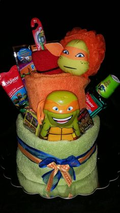 Are you a Ninja turtle fan. If so than here is a towel cake for your next party. This towel cake is non edible and is 90 % useable by the receiver. It