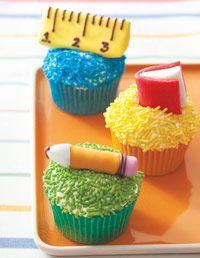 School supply cupcakes.
