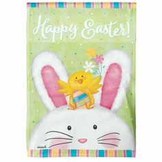 """Easter bunny is on the way! This flag features the phrase """"Happy Easter"""" embedded around the seasonal backdrop for inducing a festive atmosphere. Perfect for m"""