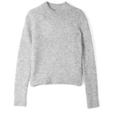 Acne Grey Lia Crew Neck Mohair Jumper (11.580 RUB) ❤ liked on Polyvore featuring tops, sweaters, shirts, jumpers, gray shirt, crew shirt, gray long sleeve shirt, grey shirt and grey crew neck sweater