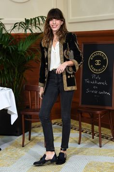 Lou Doillon sure does wear an elaborately embroidered jacket well
