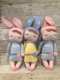Discover thousands of images about Personalized Doll. Sock Dolls, Plush Dolls, Child Doll, Girl Dolls, Sleeping Bunny, Easter Toys, Easter Gift, Baby Girl Toys, Birthday Gifts For Girls