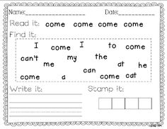 Miss Kindergarten: Sight Word Writing Practice Three is Here!