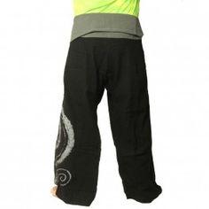pantalones pescador tailandés extralargas - negro con espiral como el algodón de impresión