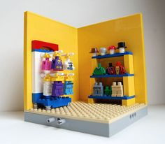 """The """"Dress Me"""" station for my Build-A-Bear Workshop MOC, It's a work in progress. 9 16 X 16 sections will snap together. Planning on an open center roof once the sections and side walls are completed."""