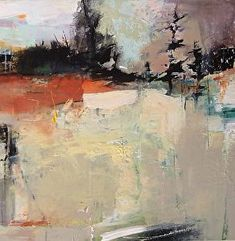 """Promise of Rain-Abstract Landscape by Joan Fullerton Acrylic ~ 24"""" x 24"""""""