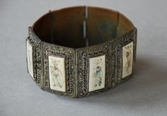 Antique Art Deco Chinese Bracelet Silver and Bone Wide Panel Filigree over Copper Storyteller Scrimshaw 1930's // Antique Fine Jewelry