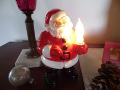 Vintage Light Up Plastic Santa With Rare Original by MadGirlRetro