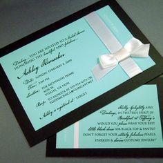 Bridal Shower Invitation Set of 50 Invites with handmade bows - Breakfast at Tiffany's. $190.00, via Etsy.
