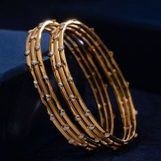 Kadli Bangles gms) - Fancy Jewellery for Women by Jewelegance Plain Gold Bangles, Solid Gold Bangle, Gold Bangles Design, Gold Earrings Designs, Gold Bangles Price, Designer Bangles, Gold Jhumka Earrings, Diamond Bangle, Real Gold Jewelry