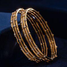 Kadli Bangles gms) - Fancy Jewellery for Women by Jewelegance Plain Gold Bangles, Solid Gold Bangle, Gold Bangles Design, Gold Earrings Designs, Diamond Bangle, Diamond Jewelry, Designer Bangles, Gold Jhumka Earrings, Crystal Jewelry