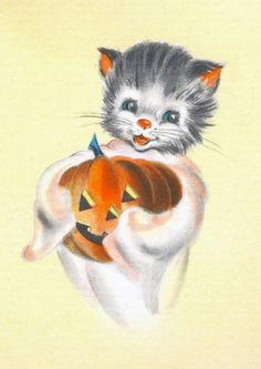 Vintage Halloween card - kitten and Jack O' Lantern
