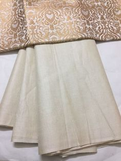 Pure striped Tussar silk saree with banarasi brocade blouse Salwar Designs, Blouse Designs, Brocade Blouses, Tussar Silk Saree, Nice Quotes, Traditional Clothes, Indian Ethnic Wear, Woman Clothing, Color Combinations