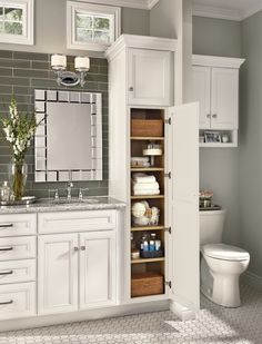 Feeling restricted by the lack of space in your bathroom and the limited storage options you currently have? Talk to our design team about the miracles we can perform to bring luxury and organization to any size bathroom you have! @KraftMaidCabinetry