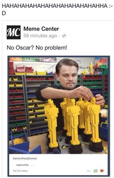 i love how he just goes along with the mockery and turns it into his own joke.....he really deserves that damn oscar!