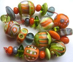 Glimps of Spring Handmade Lampwork Bead Set by AnnesGlassJewels