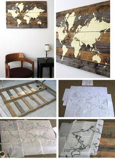 Carte du monde DYI sur bois pour décoration murale