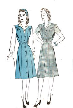 Advance 3766 Misses' Vintage 1940s Jumper Dress by DRCRosePatterns