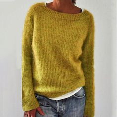 Cotton Sweater, Pullover Sweaters, Knit Sweaters, Cardigans, Casual Sweaters, Sweaters For Women, Pullover Mode, Yellow Sweater, Sweater Fashion