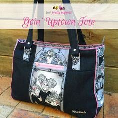 Goin' Uptown Tote - Andrie Designs bag pattern  Paper and PDF bag patterns  Tote bag pattern  Handmade bag