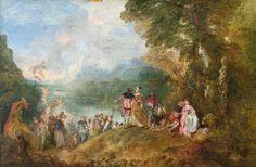"""""""L'embarquement pour Cythère"""" ou """"Pèlerinage à l'île de Cythère"""" de Watteau est une Huile sur toile qui date de 1717, mesure 129 × 194 cm et se trouve au Musée du Louvre, à Paris (France)."""