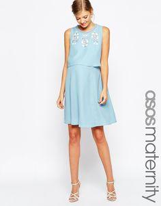 ASOS Maternity Embellished Double Layer Skater Dress