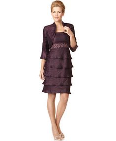 $93 R&M Richards Dress and Jacket, Sleeveless Beaded Empire Waist Tiered