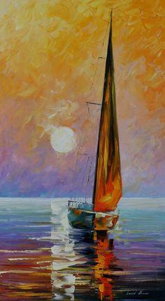 Golden Sail - Afremov Colors Pallets, Boats, Color Pallets, Gold Sailing, Sailing Away, Beautiful Artworks, Leonid Afremov, ...
